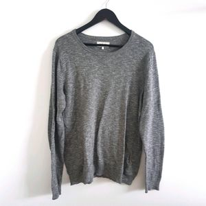 FRANK & OAK Grey Cotton Crew Neck Pullover Sweater